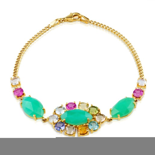 Gold Beach Bracelet with Gemstones