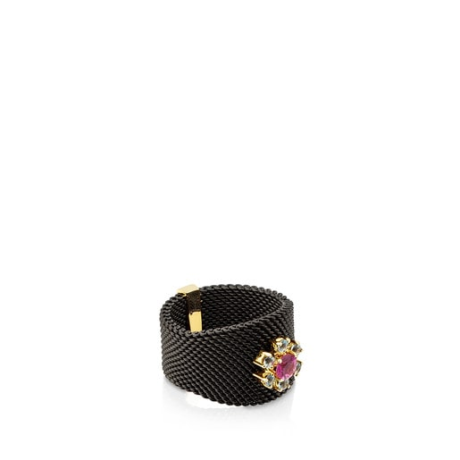 Gold and Steel Mini Teatime Ring with Ruby and Topaz