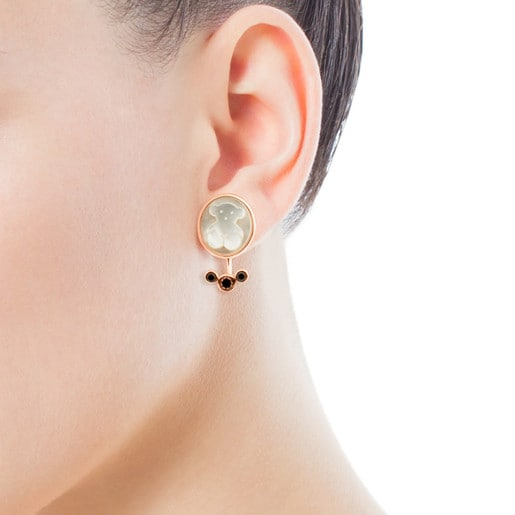 Rose Vermeil Silver Camee Earrings with Mother-of-Pearl and Spinel