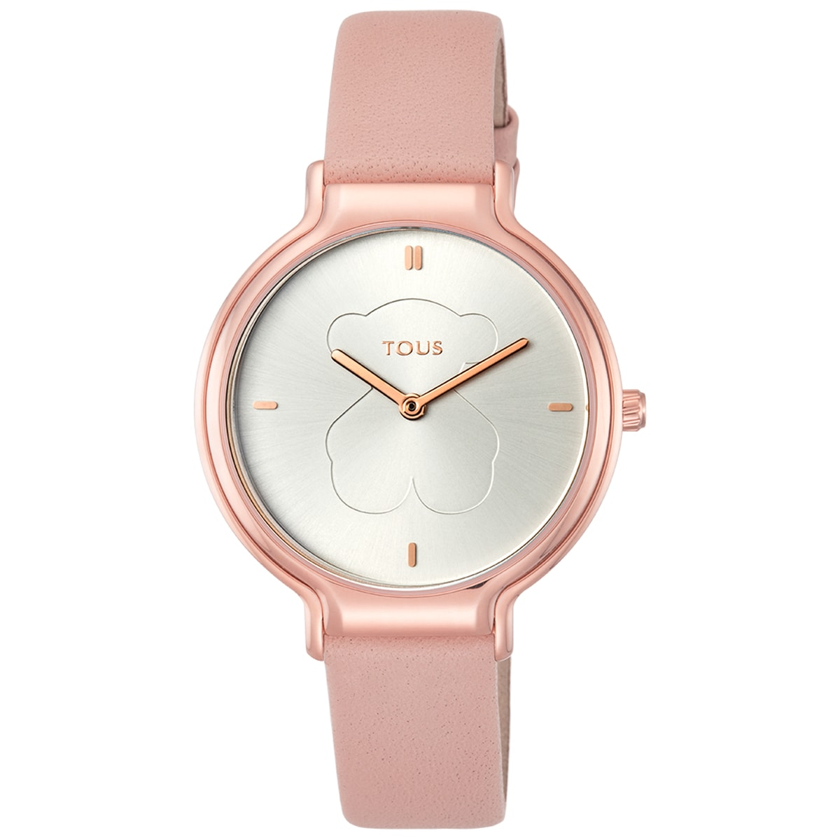 Rose IP Steel Real Bear Watch with nude Leather strap