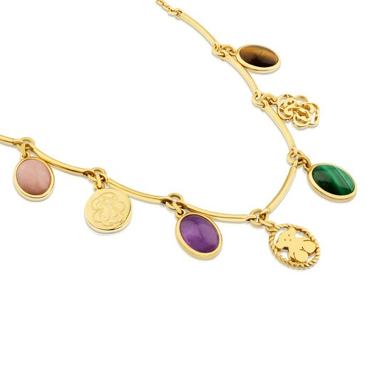 Vermeil Silver Camee Necklace with Gemstones