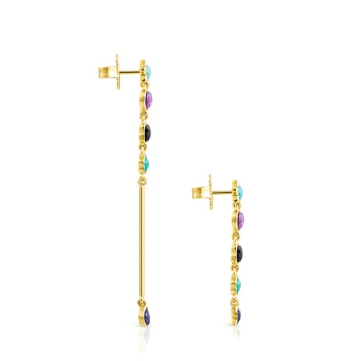 Long Glory Earrings in Silver Vermeil with Gemstones