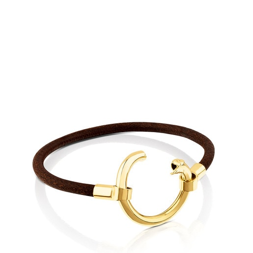 Vermeil Silver and Leather Hold Bracelet