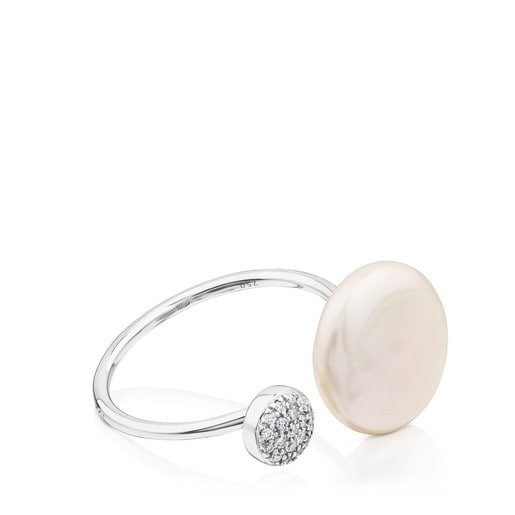 White Gold Alecia Ring with Diamond and Pearl