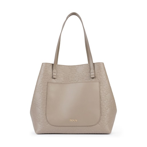 Large taupe colored Leather Mossaic Tote bag