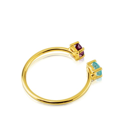 Gold Mix Color Ring with Gemstones