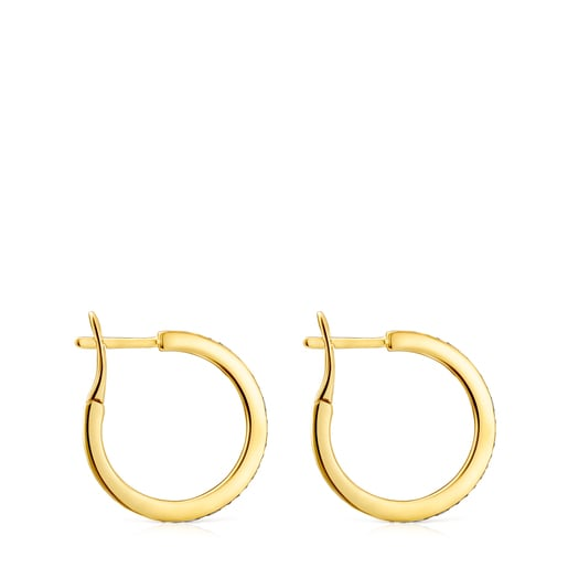 Medium Nocturne disc Earrings in Silver Vermeil with Diamonds