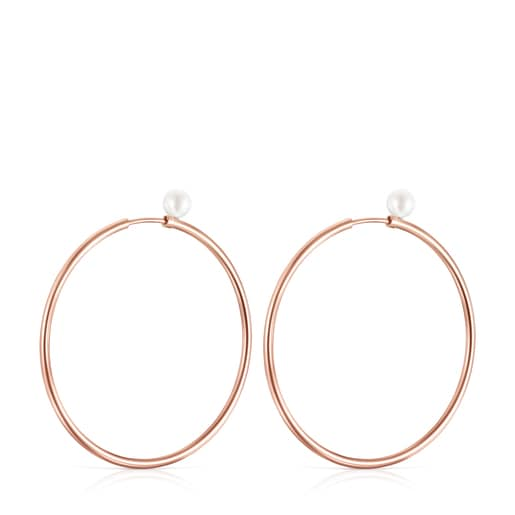 TOUS Basics large Earrings in Rose Silver Vermeil with Pearl