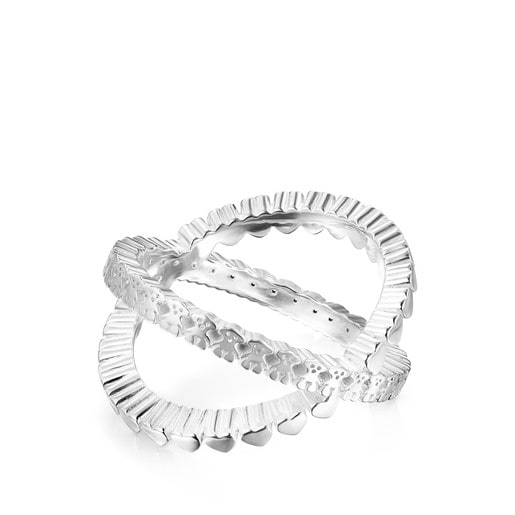 Silver Straight crossed Ring