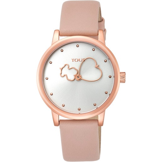 Rose IP steel Bear Time Watch with nude Leather strap