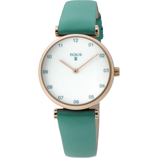 Pink IP Steel Camille Watch with green Leather strap