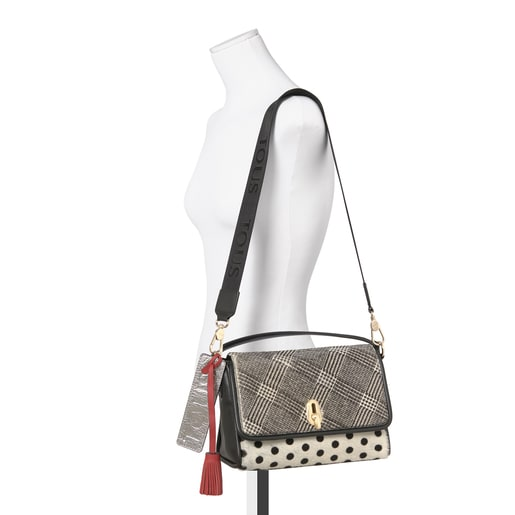 Small leather white-black Bridgy Warm crossbody bag