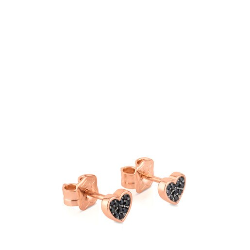 Rose Vermeil Silver Motif Earrings with Spinel