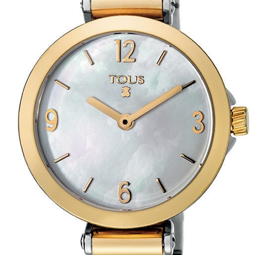 Gold IP Steel Icon Charms Watch with Mother-of-pearl