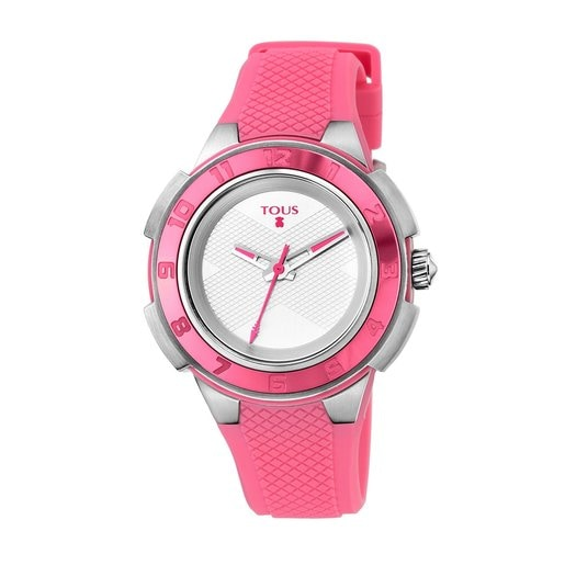 Two-tone Steel/pink anodized Aluminum Xtous Colors Watch with pink Silicone strap