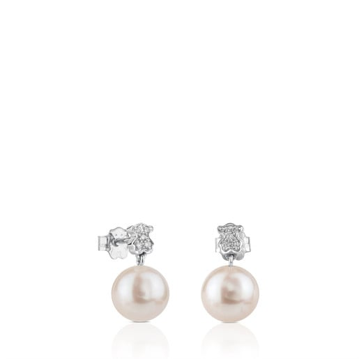 White Gold Puppies Earrings with Diamond and Pearl