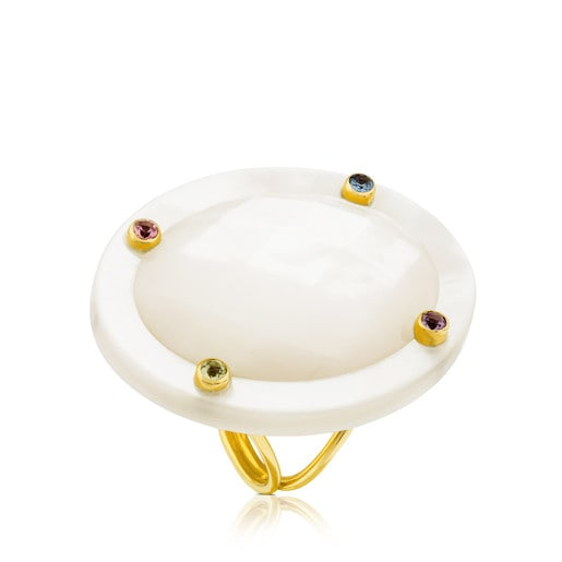 Ciel Ring in Gold with Gems and Mother-of-Pearl