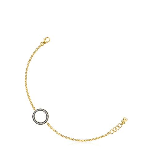 Nocturne disc Bracelet in Silver Vermeil with Diamonds