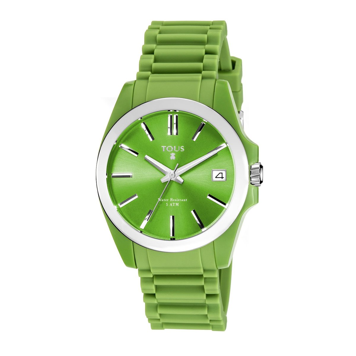Steel Drive Fun Watch with green Silicone strap