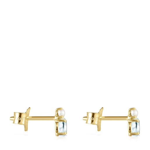 Mini Ivette Earrings in Gold with Topaz and Pearl
