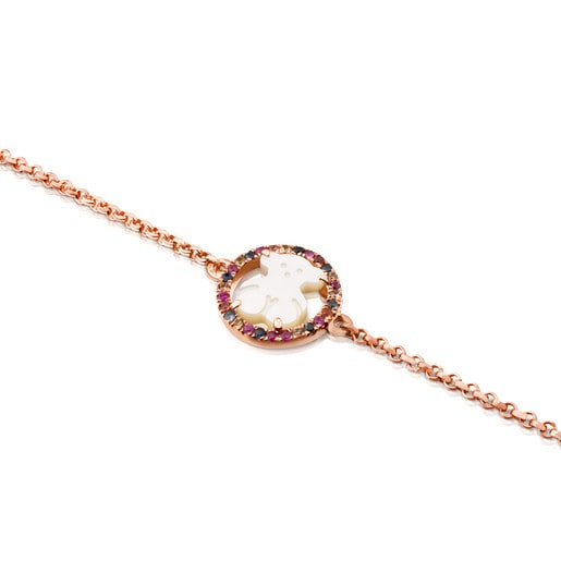 Rose Vermeil Silver Camille Bracelet with Mother-of-Pearl and multicolored Sapphire