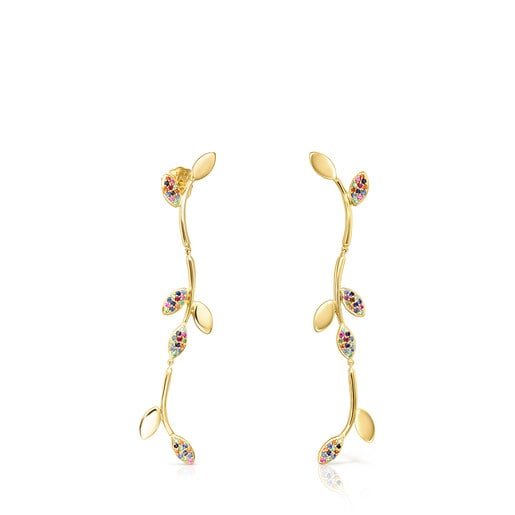 Long Gold Vermeil Real Mix Leaf Earrings with Gemstones