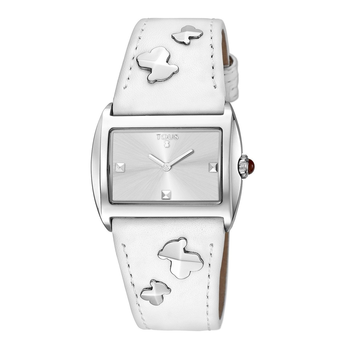 Steel Rocky Watch with white Leather strap