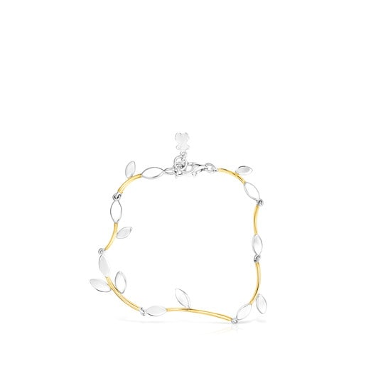 Silver Vermeil and Silver Real Mix Leaf Bracelet