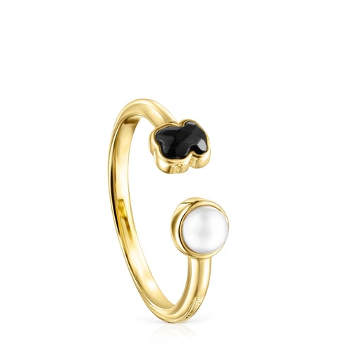 Glory Ring in Silver Vermeil with Onyx and Pearl