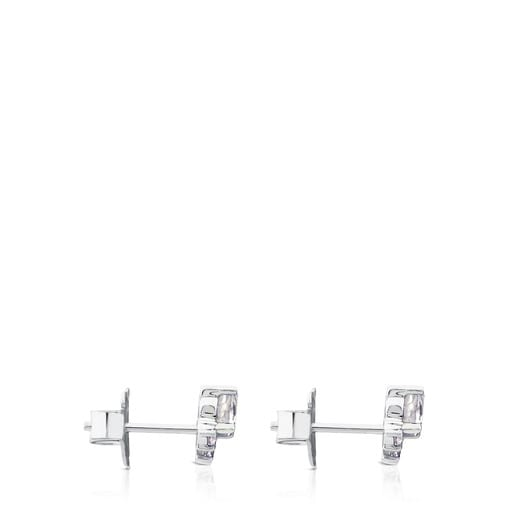 White Gold with Diamonds and Topaz Eklat Earrings