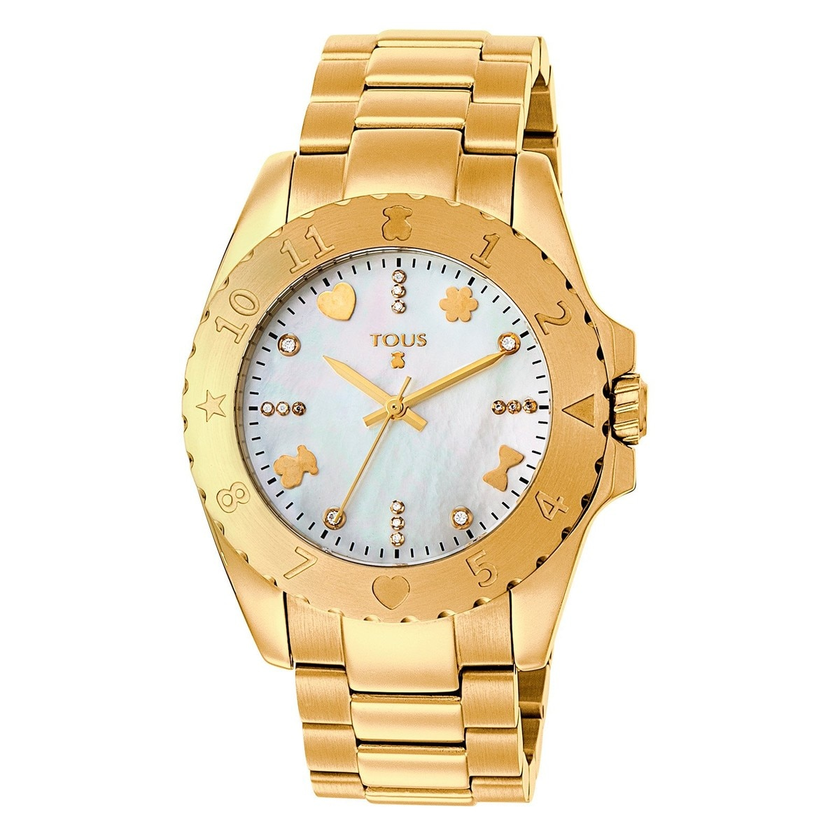 Gold IP Steel Motif Watch with Diamonds