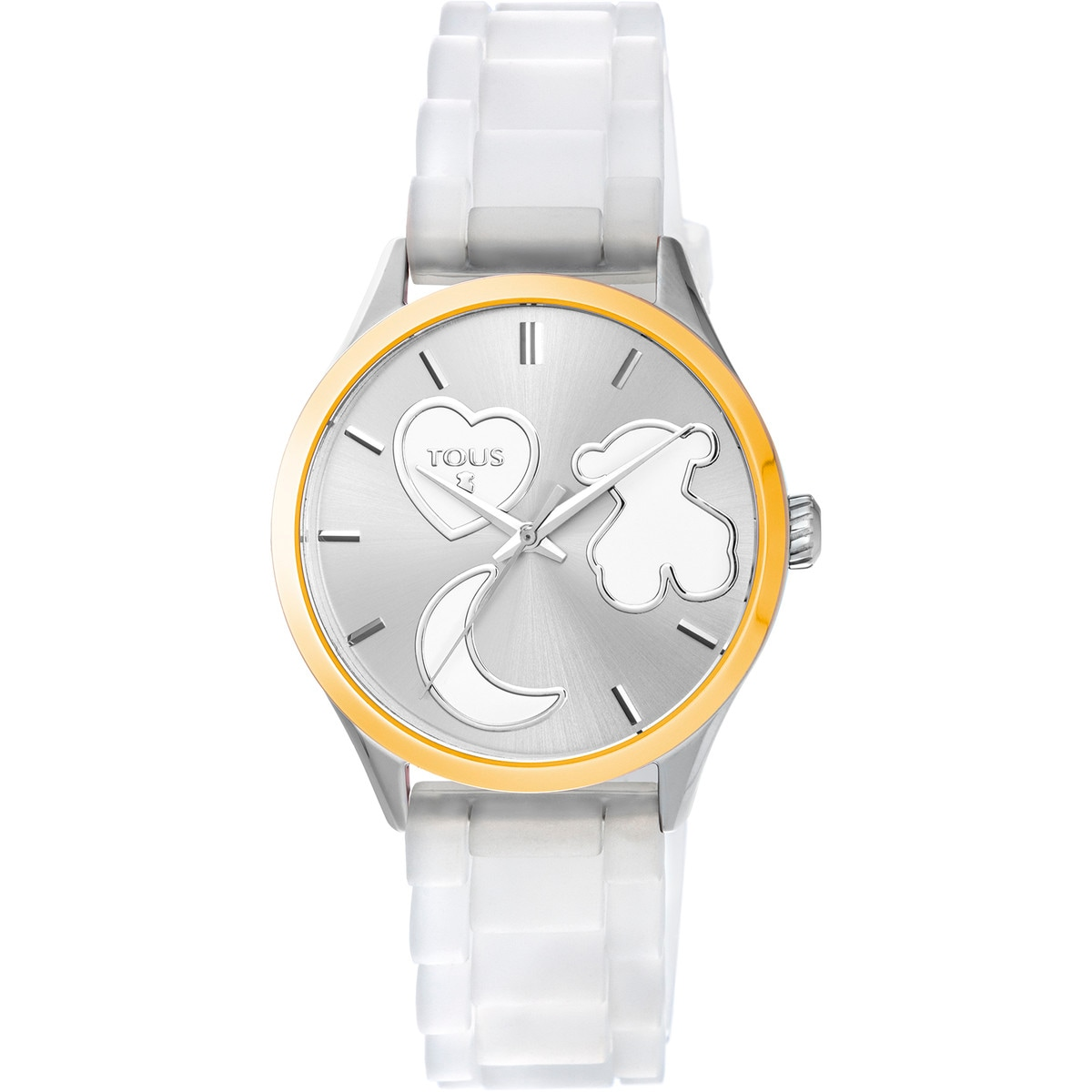 Gold IP steel Sweet Power Watch with white silicone strap