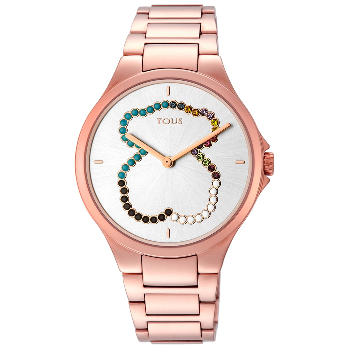 Rose IP Steel bear Motion Straight Watch with crystals