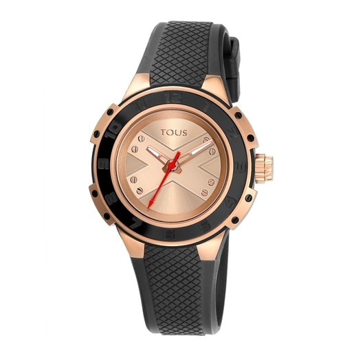 Two-tone pink/black IP Steel Xtous Lady Watch with black Silicone strap