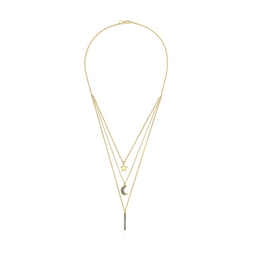 Nocturne three-strand Necklace in Silver Vermeil with Diamonds and Pearl