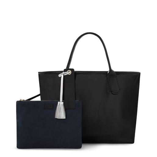 Black leather Francine Crack tote bag